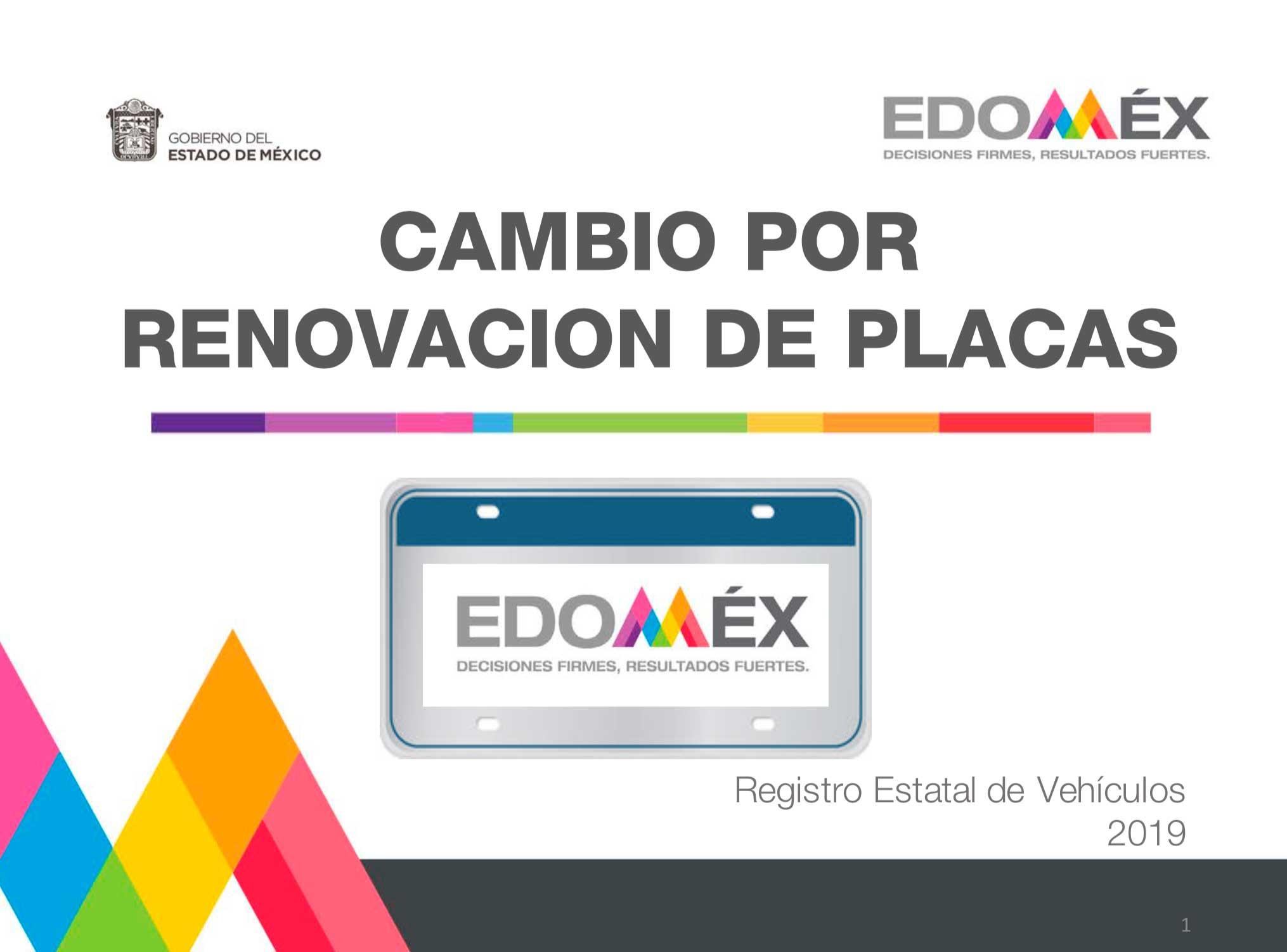 Reemplacamiento en el EdoMex 2019