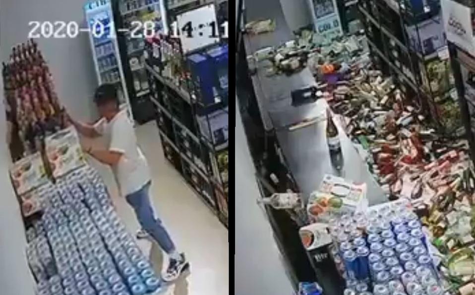 hombre trata de salvar las cervezas en sismo
