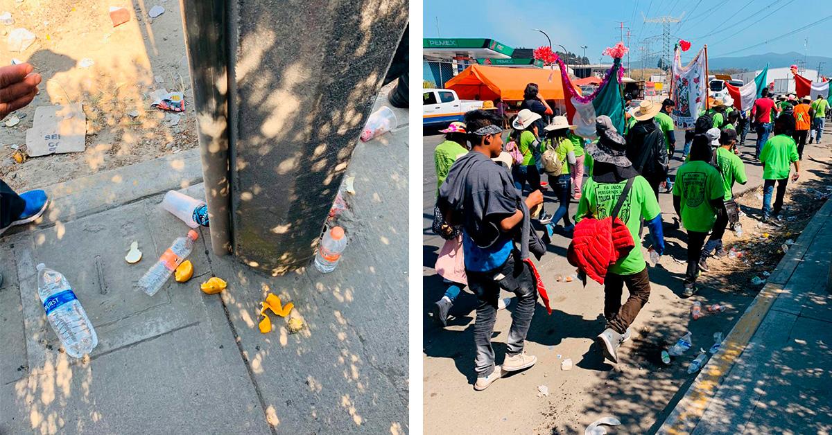 Peregrinos rumbo a la Basílica de Guadalupe dejan COCHINERO a su paso