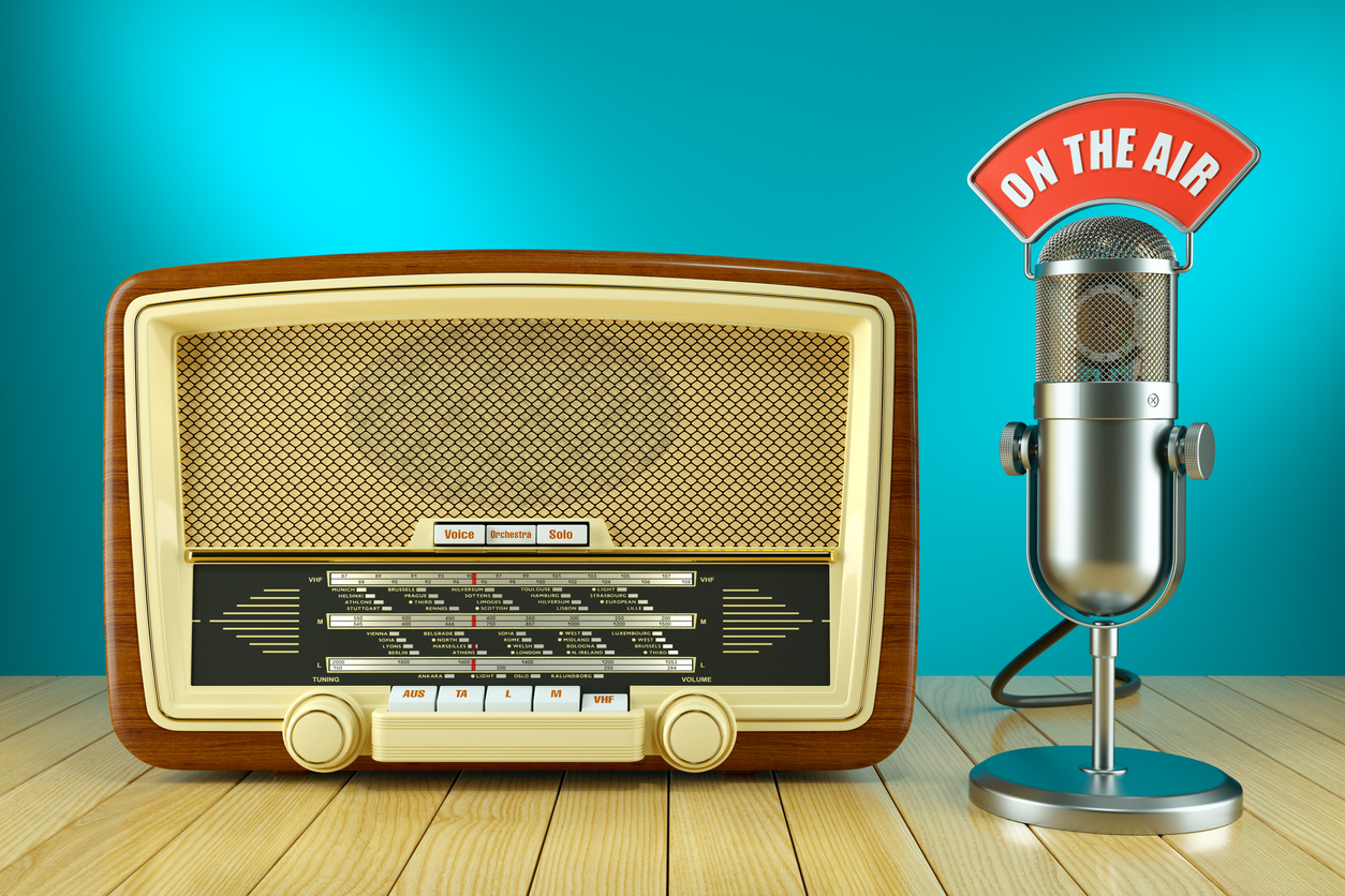 Retro radio and studio microphone. ON THE AIR