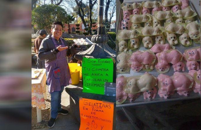 Joven mexiquense vende gelatinas para pagar sus estudios