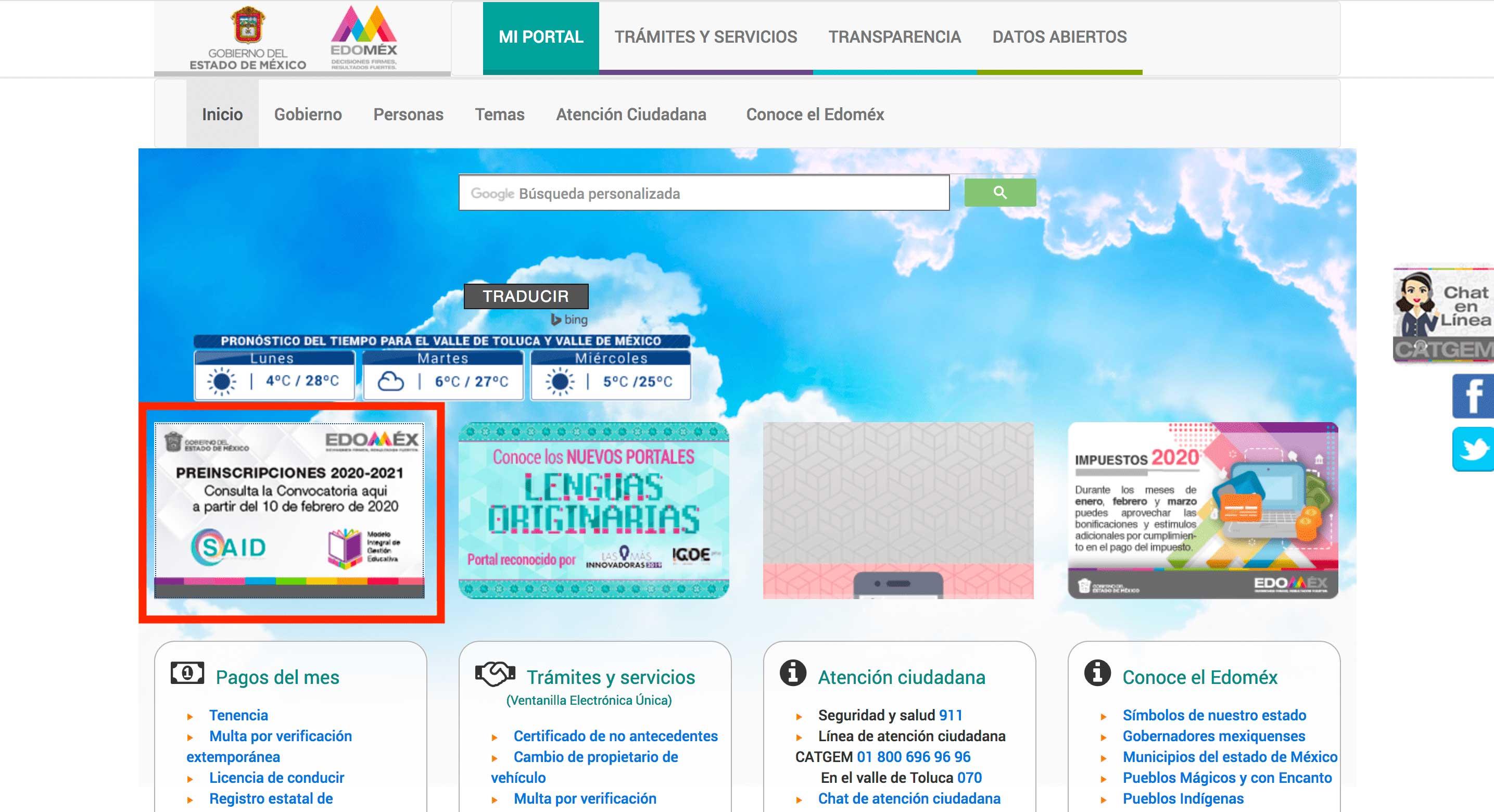 Portal Ciudadano Gobierno del Estado de México