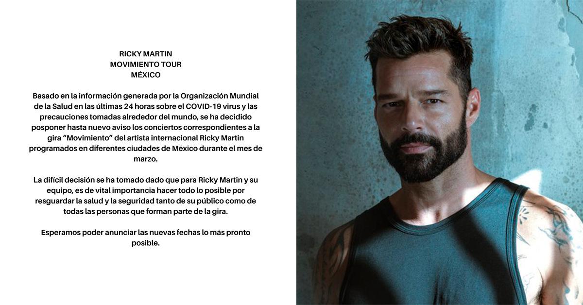Ricky Martin pospone conciertos programados en México
