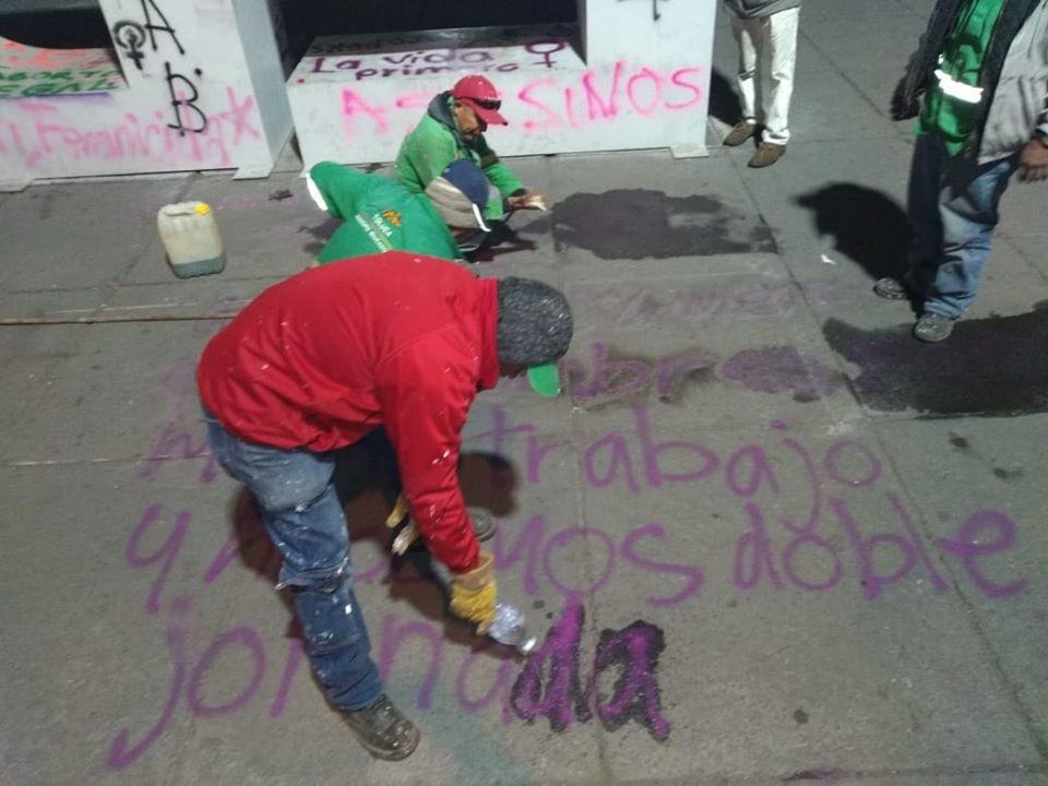 Así amaneció la ciudad de Toluca tras marcha del pasado 8 de marzo