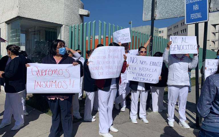 Enfermeras del hospital Adolfo López Mateos se manifiestan por falta de insumos para combatir Covid-19