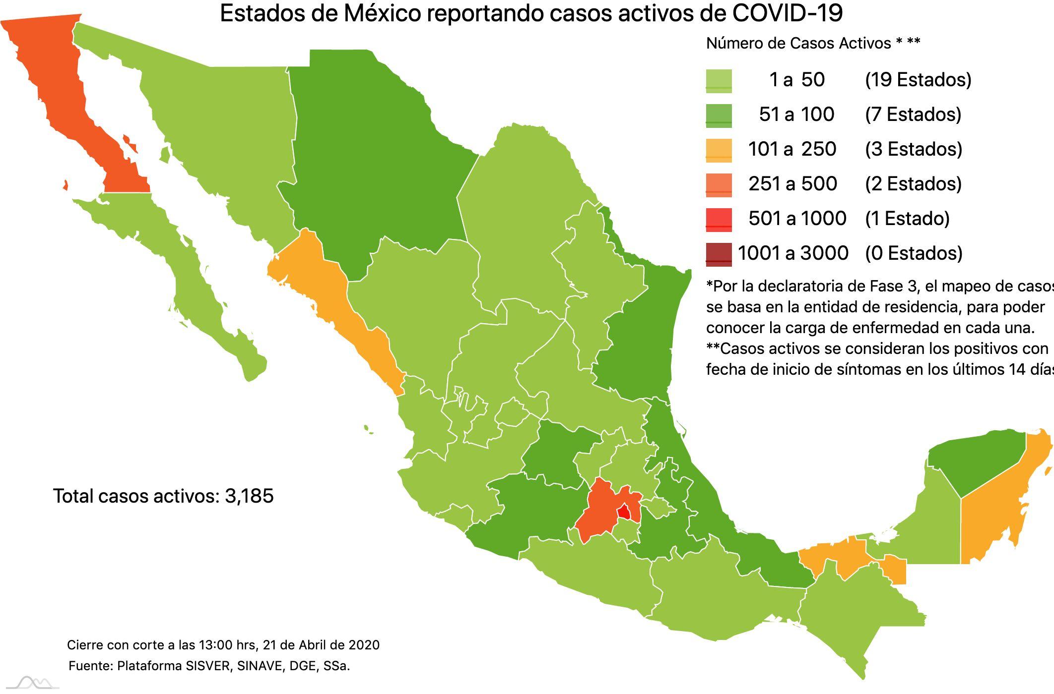 Casos activos y defunciones de Covid-19 en municipios del EdoMéx