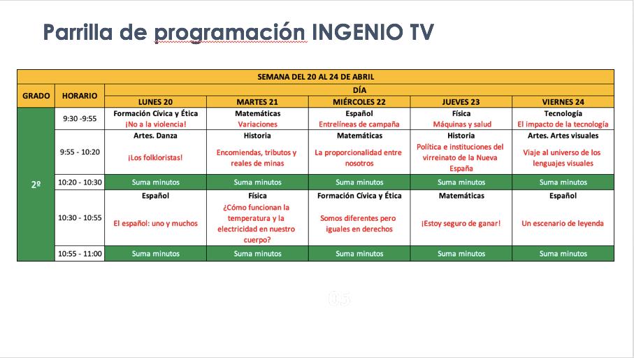 Horarios para alumnos que regresan a clases el 20 de abril, televisión, radio y en línea