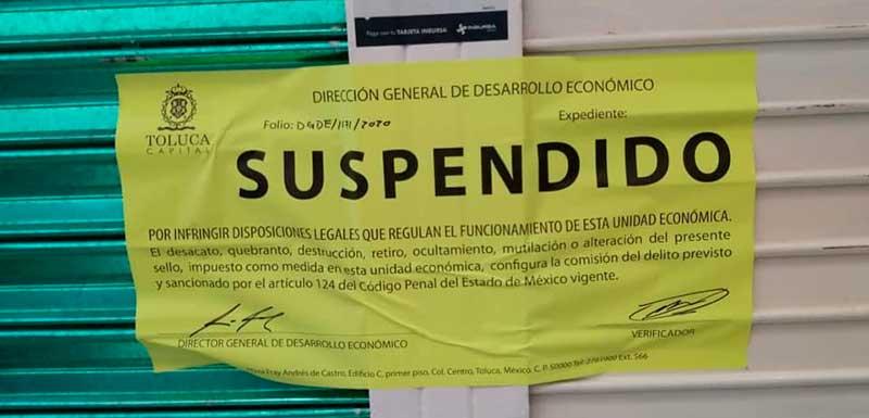 Suspenden locales por incumplir normas sanitarias en Toluca