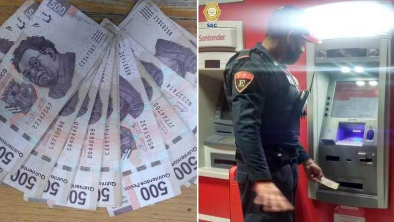Policía-regresa-billetes-de-500-pesos-que-se-encontró