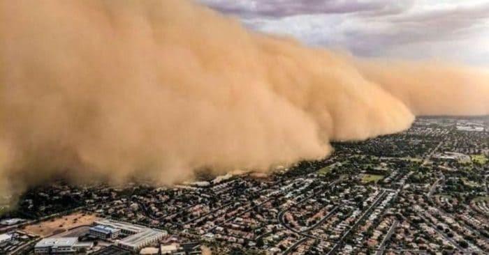 Así luce «Nube de polvo del Sahara» desde el cielo.