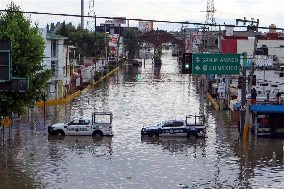 San Mateo Atenco inundado por las lluvias