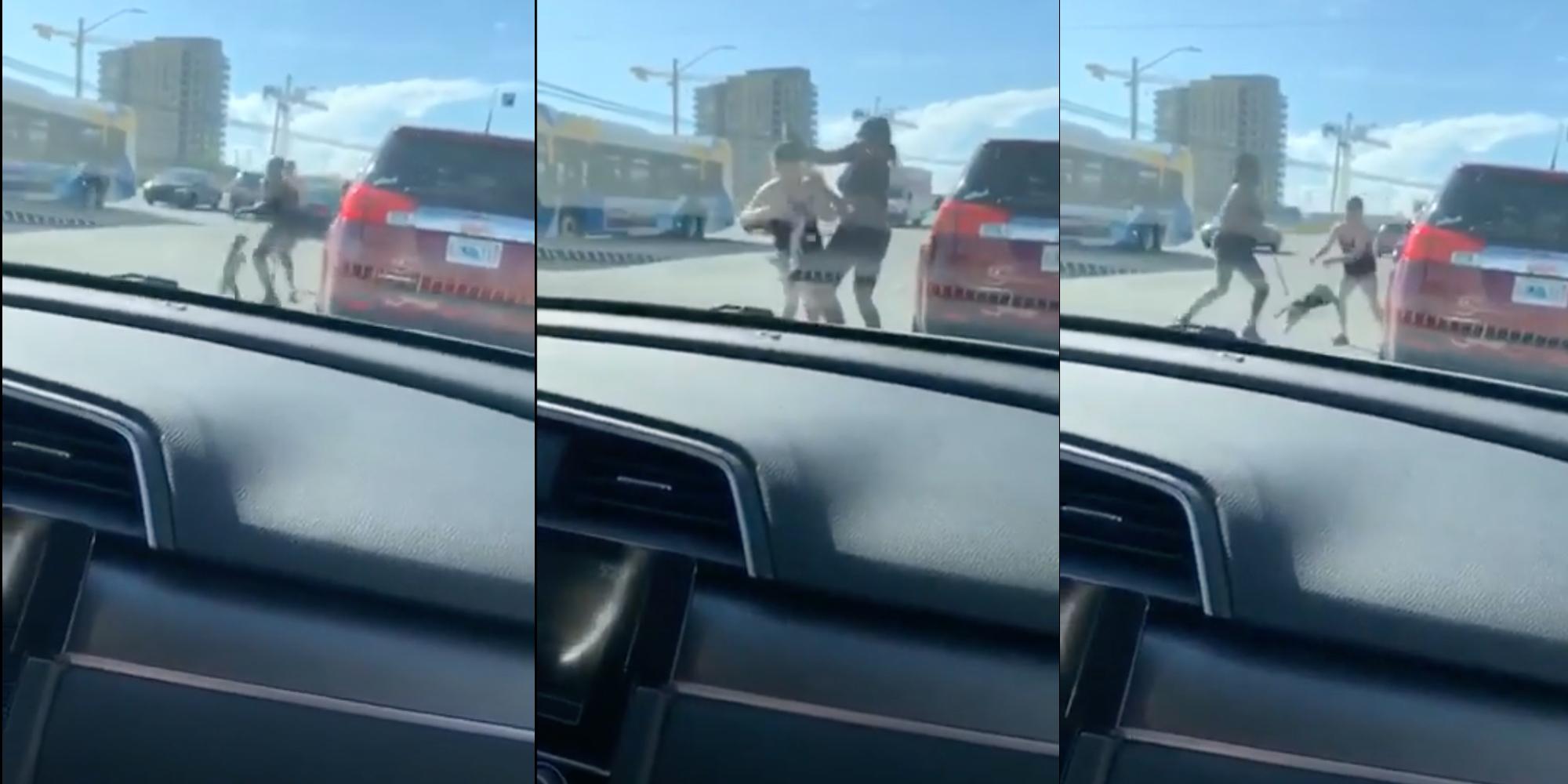 Mujer golpea a otra usando a un cachorro