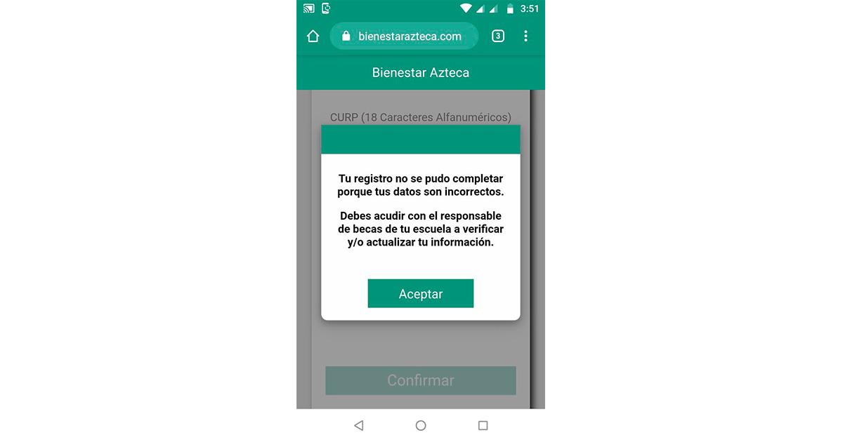 Bienestar Azteca: Errores comunes en el registro y como solucionarlo www.bienestarazteca.com