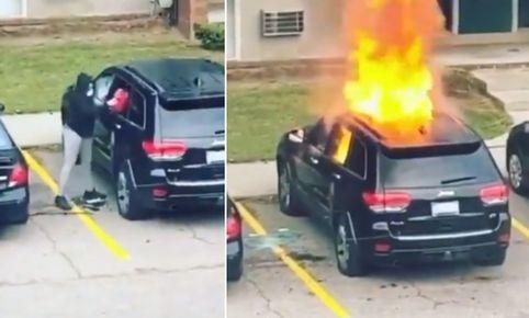 video-mujer-en-venganza-prende-fuego-al-carro-de-su-ex-y-le-explota-en-la-cara