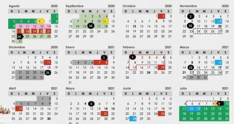 Calendario ciclo escolar 2020-2021.