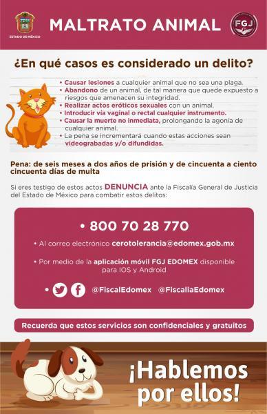 Maltrato animal en el Estado de México amerita prisión y multas