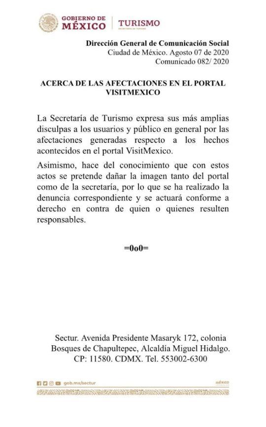 Portal VisitMexico presentó errores de