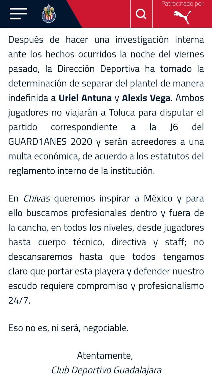 (Vídeo) Guadalajara sanciona a Vega y Antuna por hacer fiesta