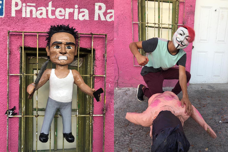 Lanzan piñata del asaltante golpeado por pasajeros