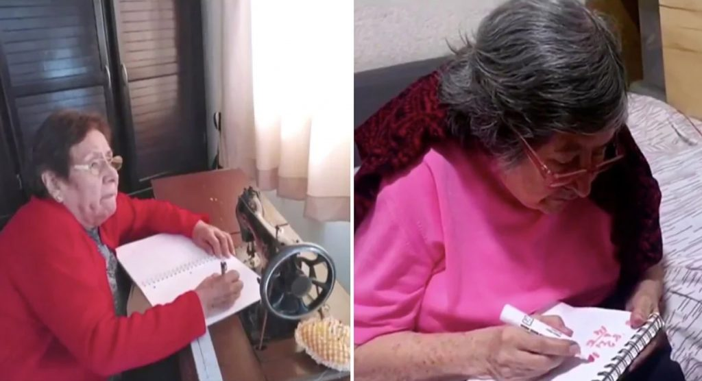Abuelita mexiquense toma clases desde casa