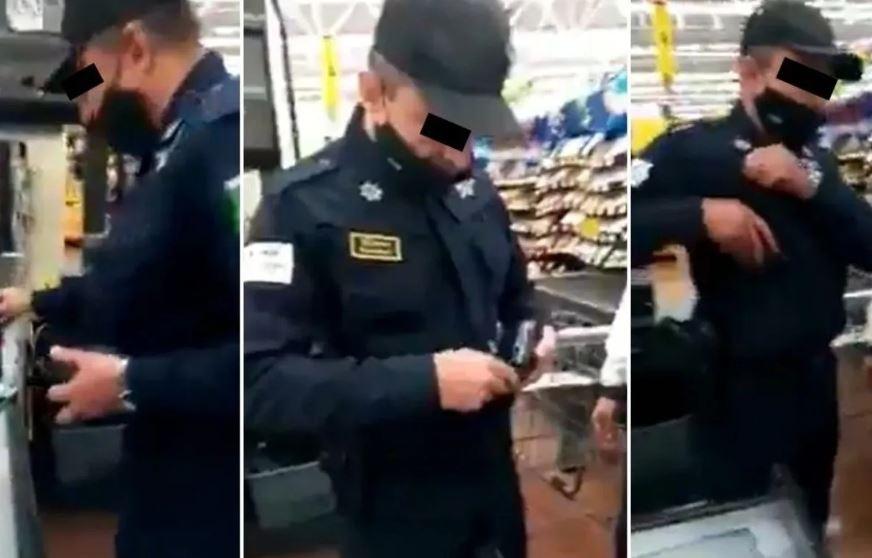 (VIDEO) Captan a policía robando en tienda del Edomex