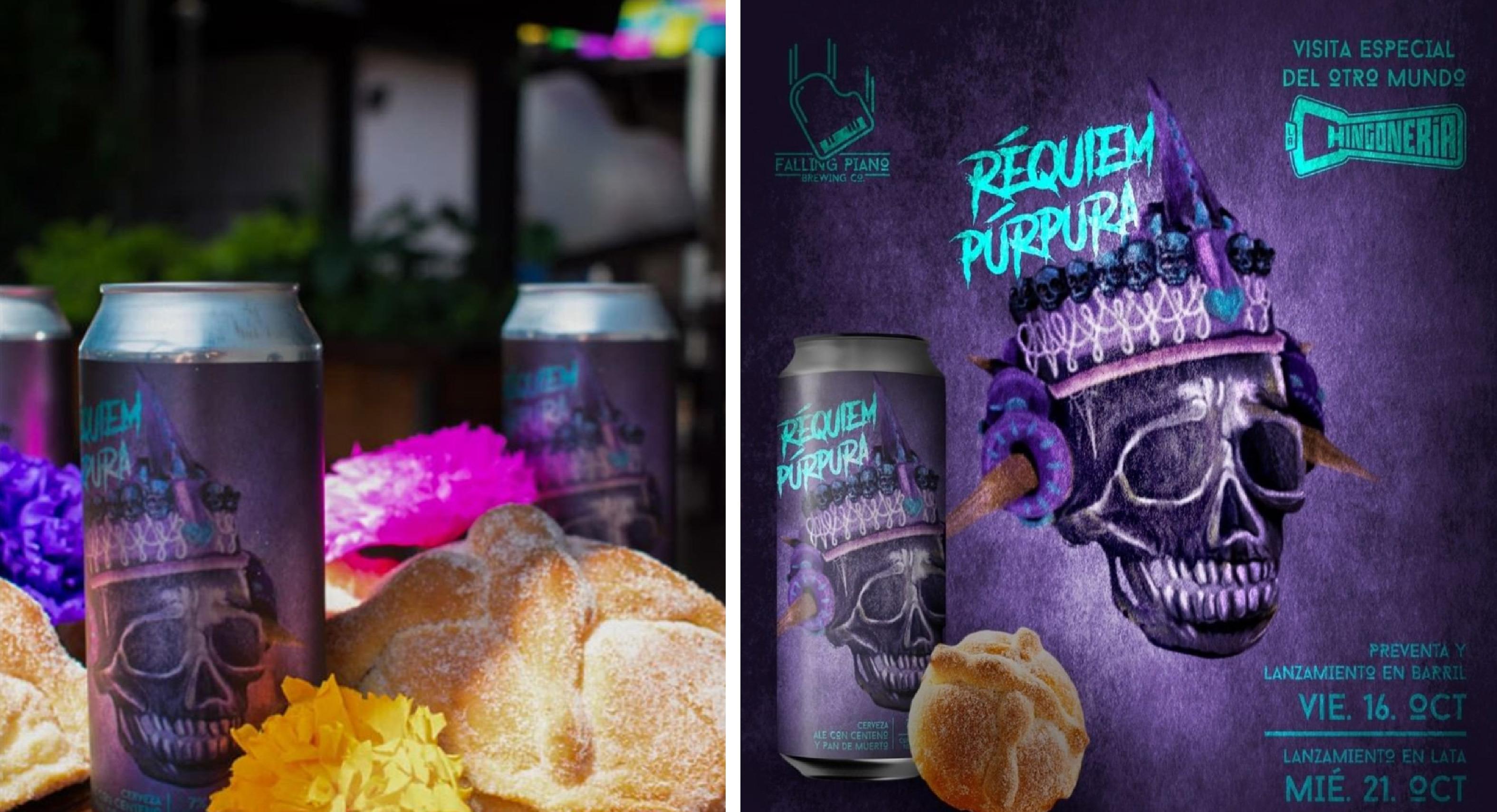 Cerveza hecha de pan de muerto llamada Réquiem Púrpura