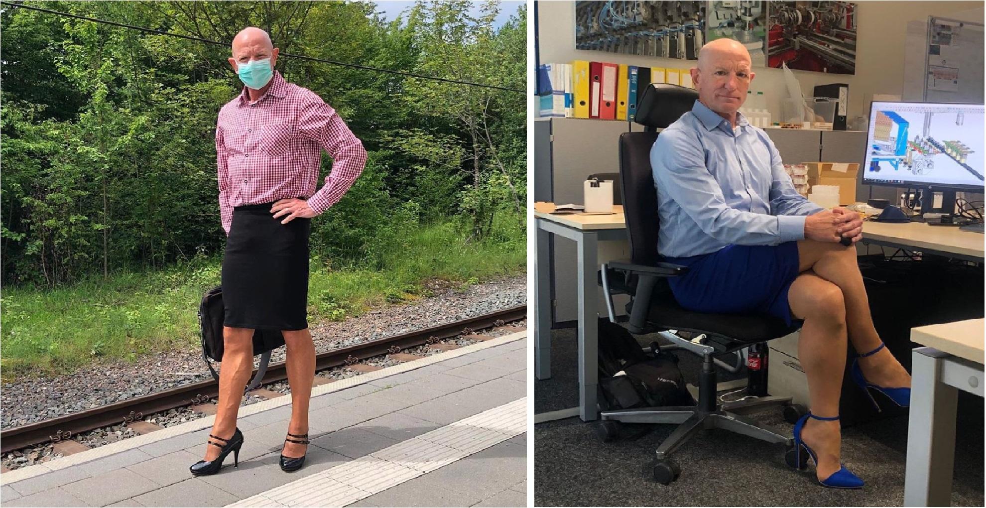 Para probar que la ropa no tiene género, Ingeniero casado y con hijos viste falda y tacones al trabajo