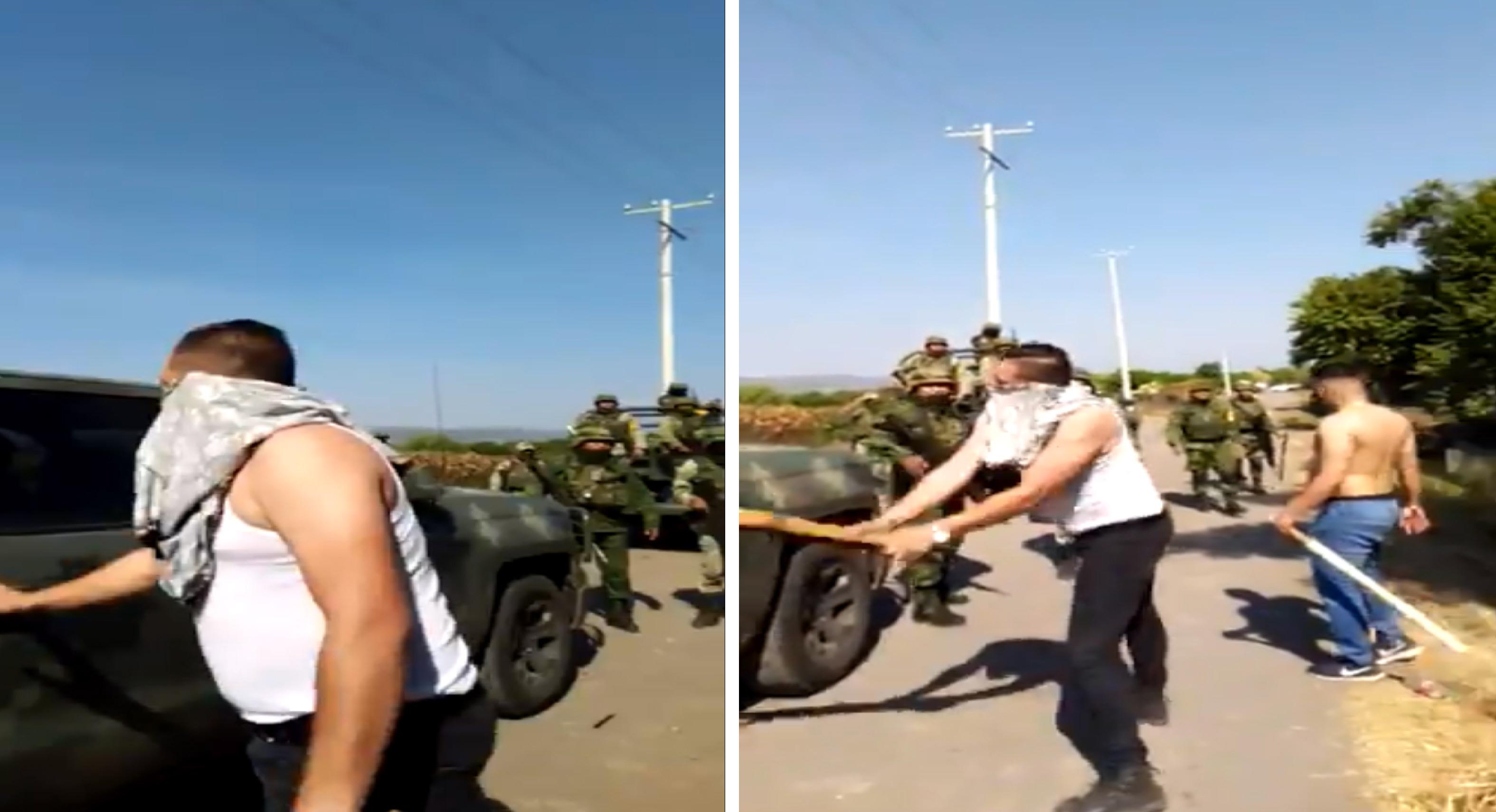 Encapuchados agreden con palos a militares || VIDEO