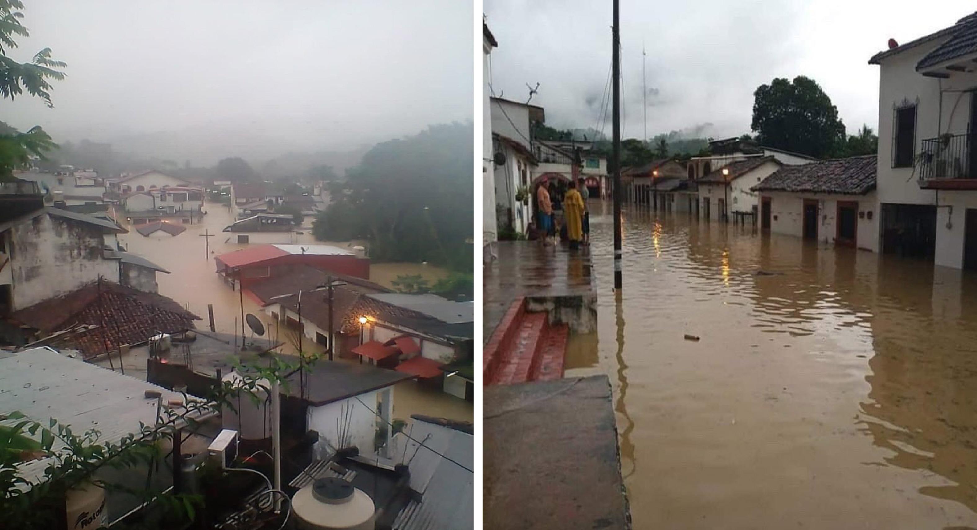 Lluvias han dejado debajo del agua al pueblo mágico Tapijulapa, Tabasco
