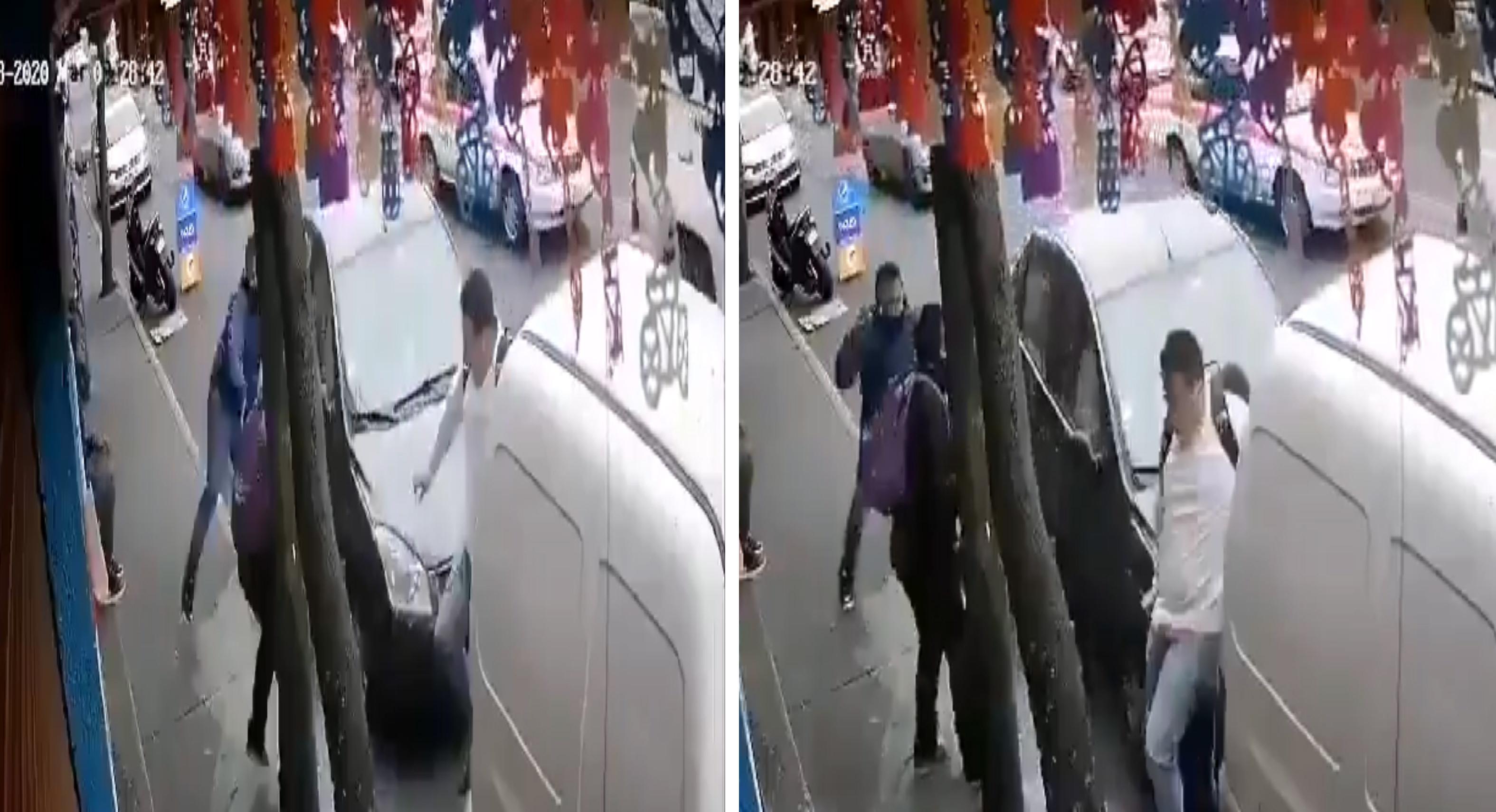 Personas son sorprendidas de ser atropelladas por un auto en CDMX    VIDEO