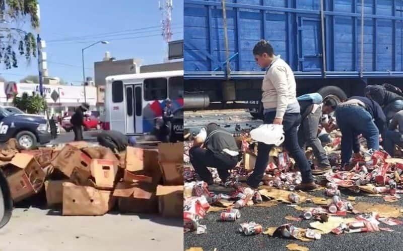 Se-roban-cartones-de-cerveza-de-trailer-en-Toluca