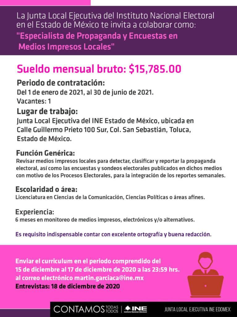 Gana un sueldo de 15 mil 785 pesos siendo especialista INE 2021