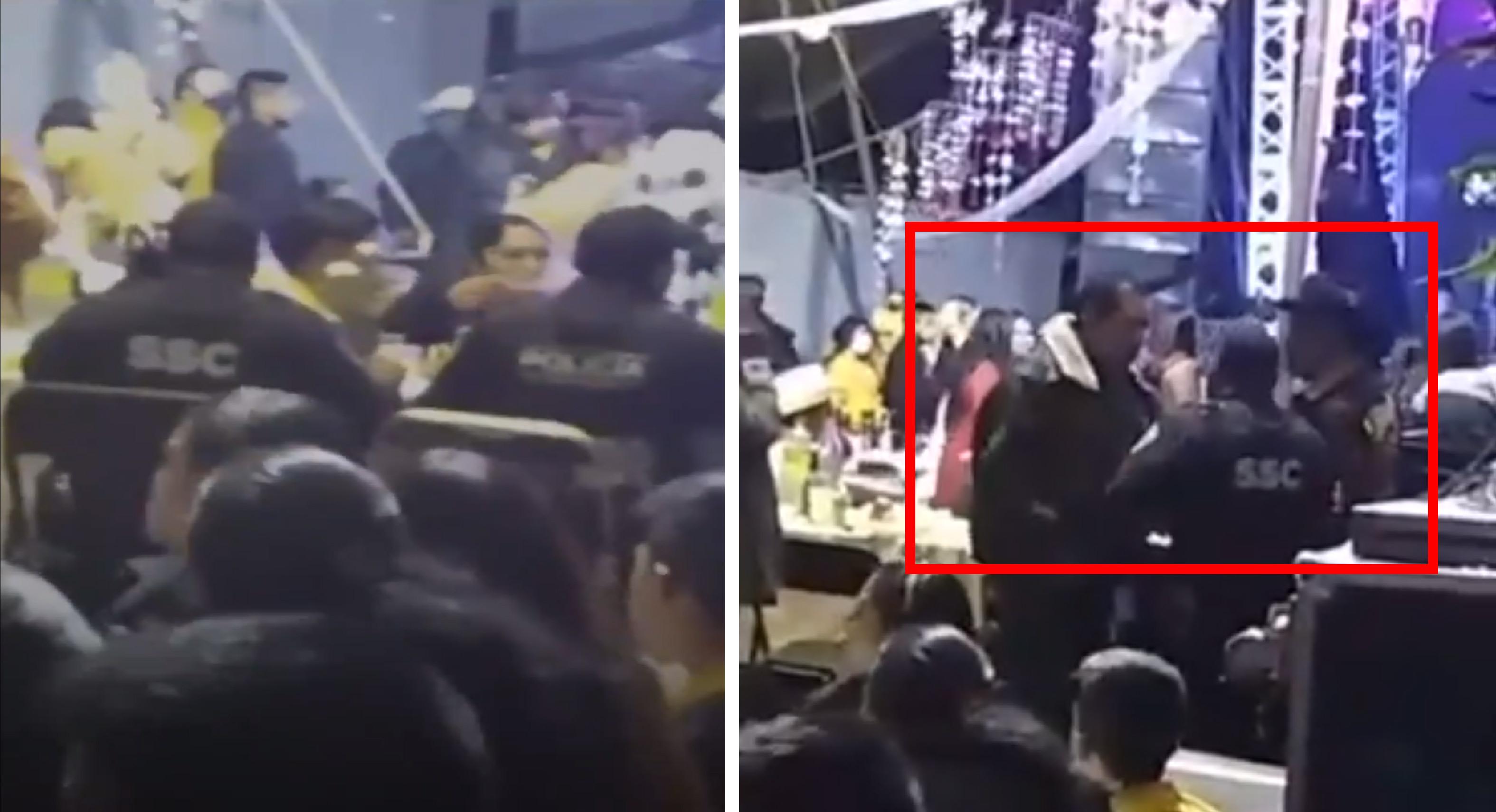 Policías pretendían cancelar una fiesta y terminan comiendo en ella || VIDEOS
