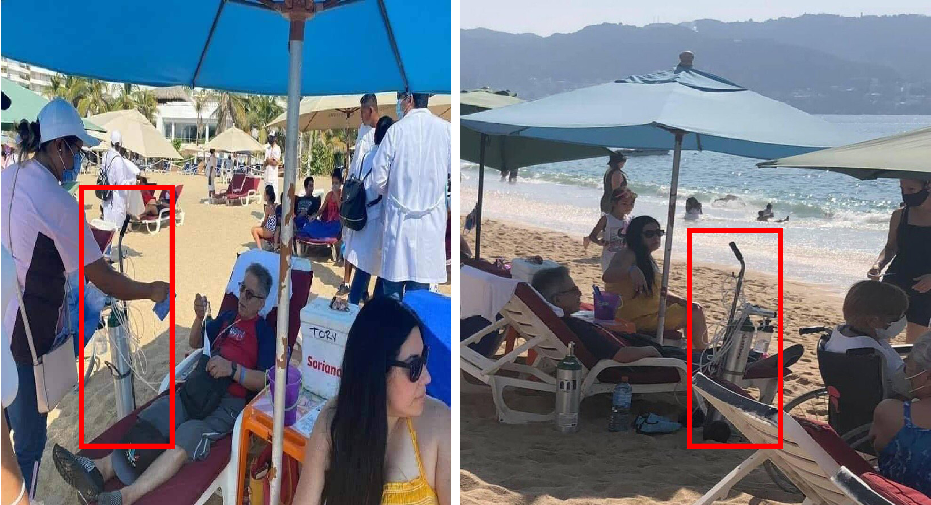 Turista disfruta playas de Acapulco con tanque oxígeno acompañándole3 vacaciones Semana Santa