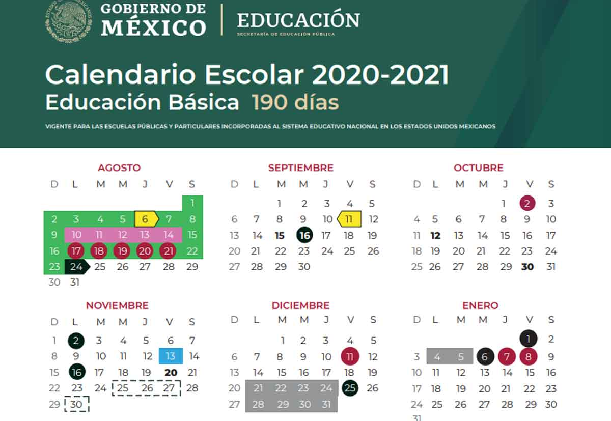 Sep calendario del ciclo escolar 202-2021 vacaciones