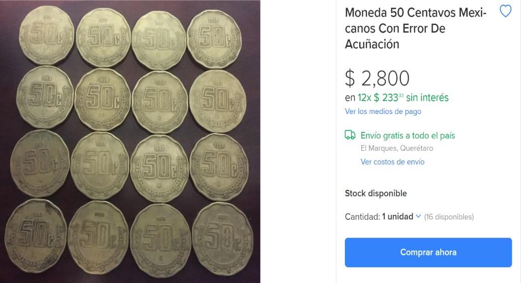 Características del porqué moneda de 50 centavos se vende hasta en 2 mil 900 pesos2