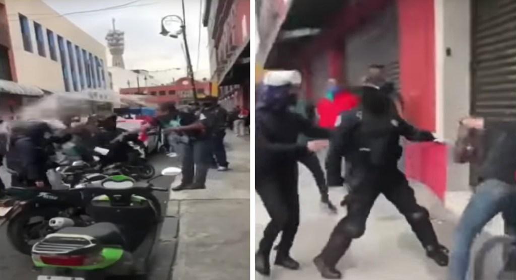 Comerciante avienta agua a policías y desata enfrentamiento