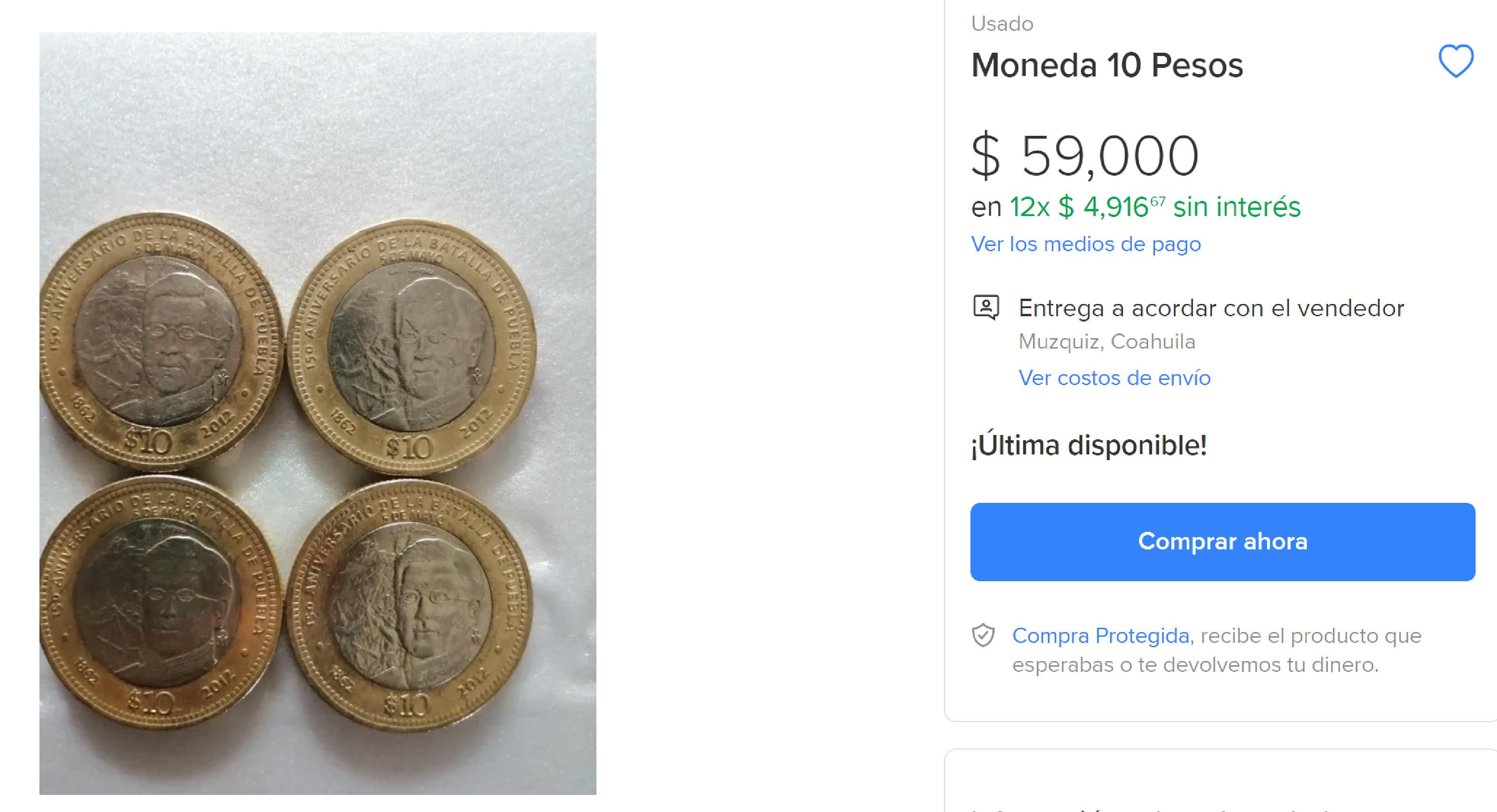 Moneda conmemorativa de 10 pesos de la Batalla de Puebla es vendida en 59 mil y 25 mil pesos