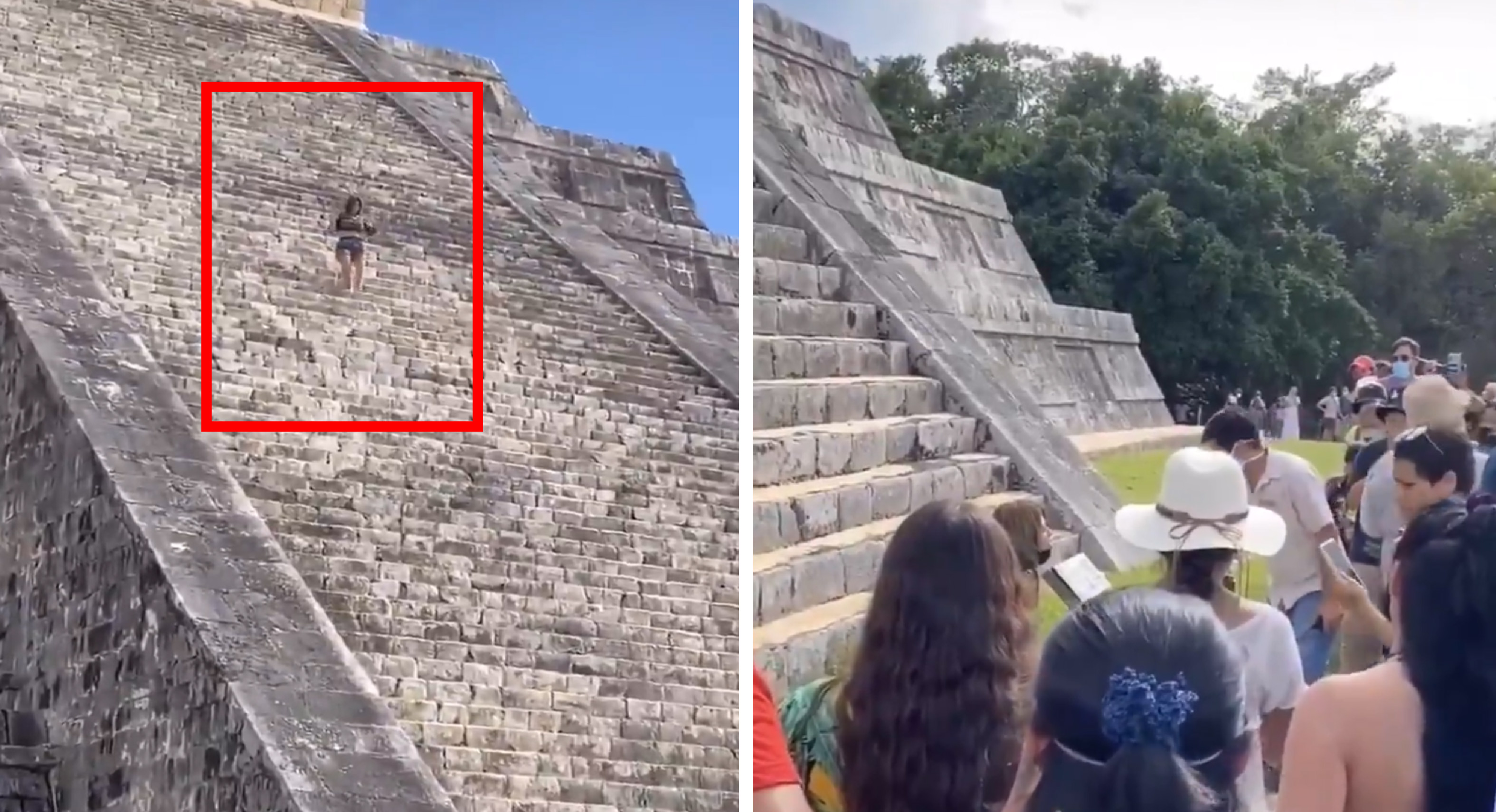 Mujer es detenida por subir a Chichén Itzá || VIDEO