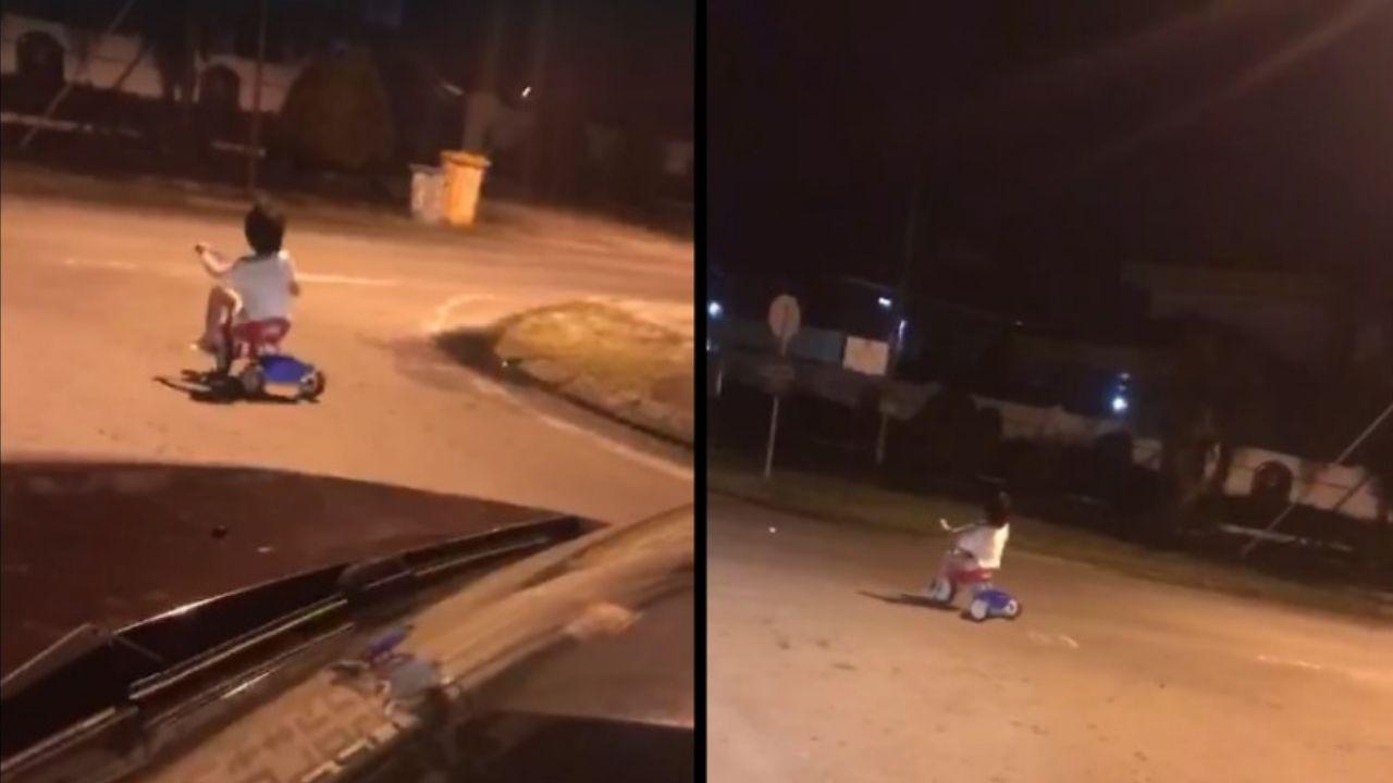 Captan a niño fantasma en un triciclo de madrugada || VIDEO