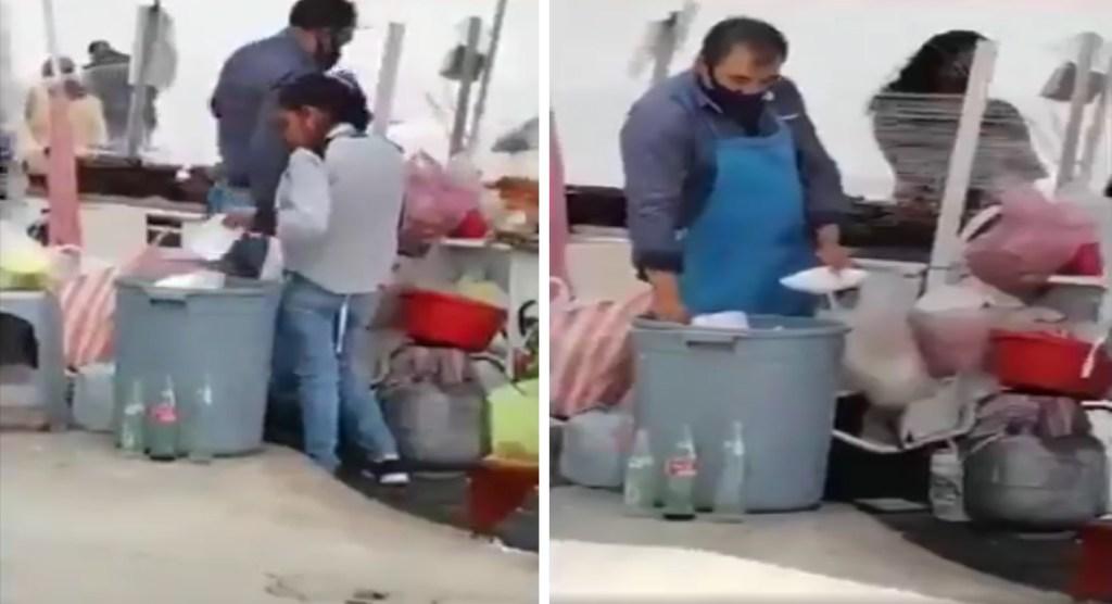 Empleados reutiliza platos desechables de la basura