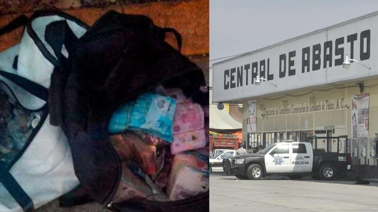 Descubren a ladrones con bolsas de dinero en Central de Abasto de Toluca