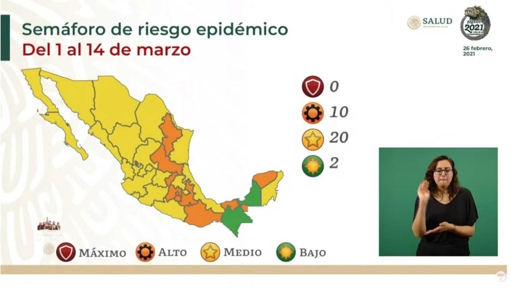 El semáforo epidemiológico en México ha cambiado drásticamente para marzo, sin embargo ese cambio es favorable, pues del 1 al 14 de marzo ningún estado en el país se encontrará en color rojo y 20 pasarán a color amarillo