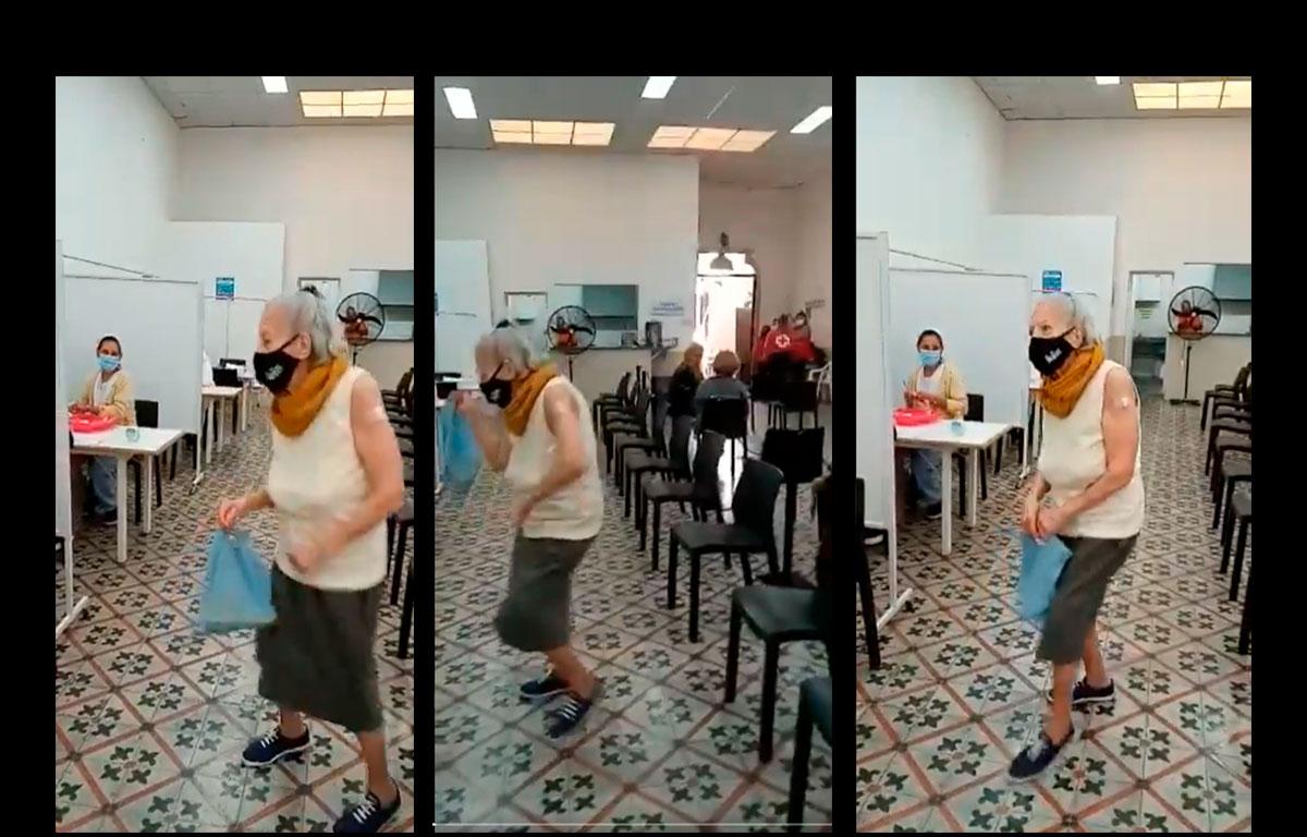 mujer de la tercera edad baila al recibir vauna y se hace viral en redes sociales