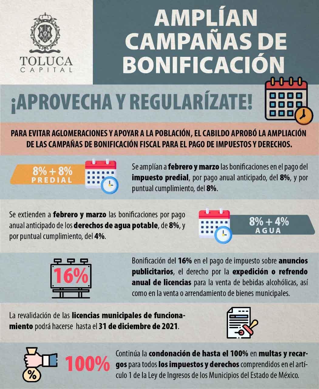 El ayuntamiento de Toluca ampliará las campañas de bonificación fiscal por pago anual anticipado de impuestos como predial y servicios de agua potable