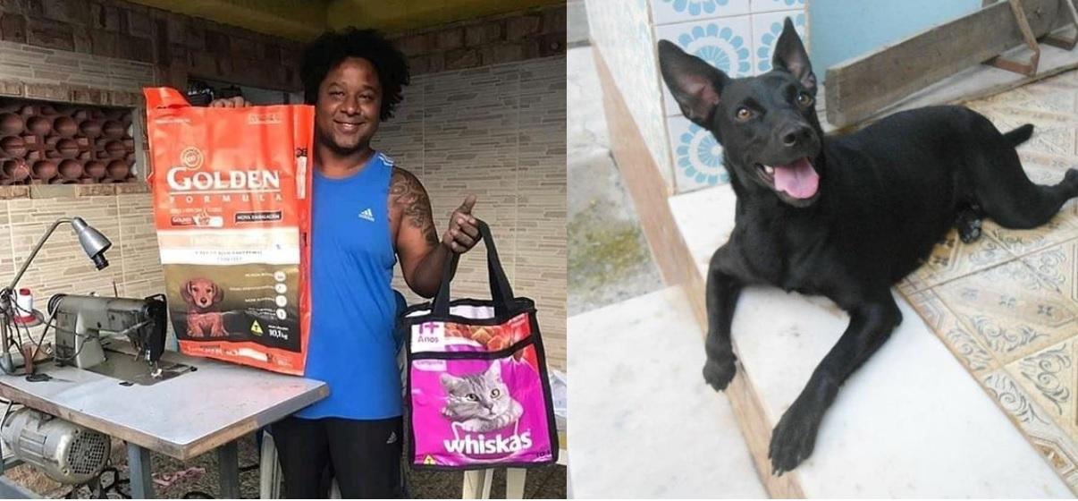 El principal motivo de este joven brasileño es poder ayudar a los perritos y gatos callejeros, sin embargo, su labor de reciclaje de bolsas de croquetas lo ha llevado a favorecer al medio ambiente, regalando una doble ayuda a la naturaleza.