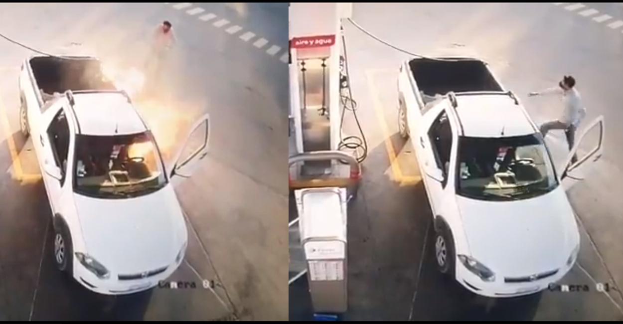 Usó su celular en una gasolinera y su camioneta se incendia || VIDEO viral