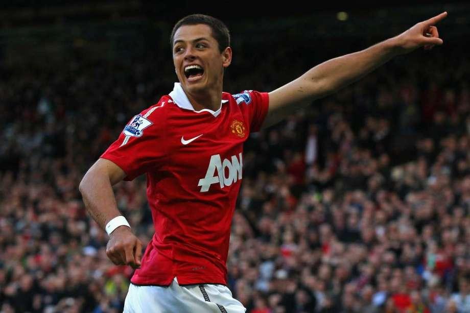 La alegría de Javier Hernández en su paso por el Manchester United.