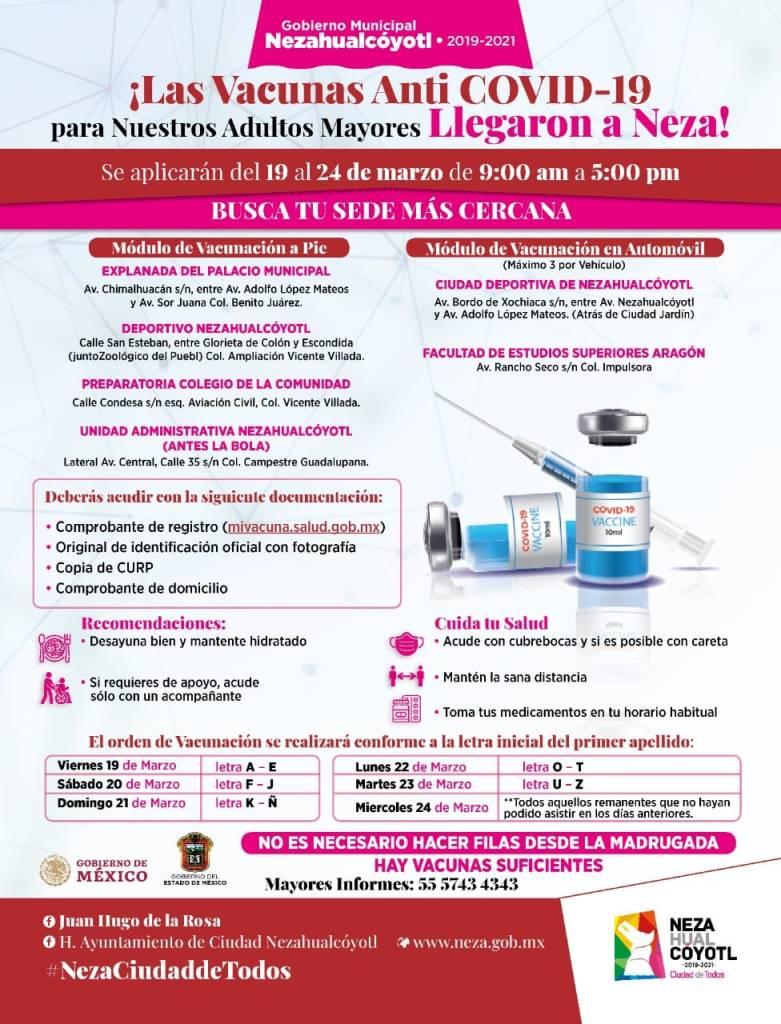 Fecha de vacunación de acuerdo a la primera letra del apellidoConoce los módulos y detalles de vacunación COVID-19 en Neza
