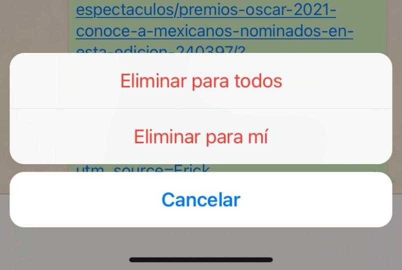 Captura de pantalla de como eliminar un mensaje en WhatsApp
